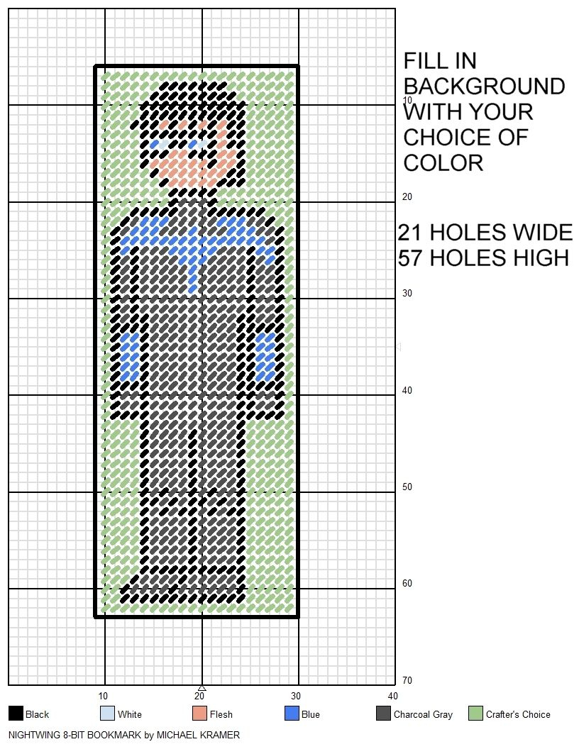 Nightwing 8-Bit Bookmark Plastic Canvas Patternmichael Kramer - Free Printable Plastic Canvas Patterns Bookmarks