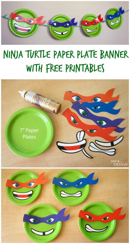 Ninja Turtle Paper Plate Banner With Free Printables   Moms - Teenage Mutant Ninja Turtles Free Printable Mask