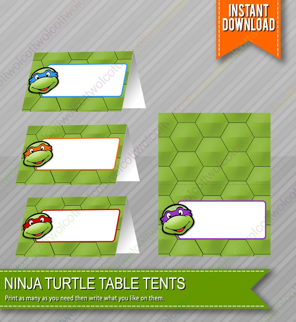 Ninja Turtles Birthday Food Table Tents Cards Blank Instant | Etsy - Free Printable Tmnt Food Labels