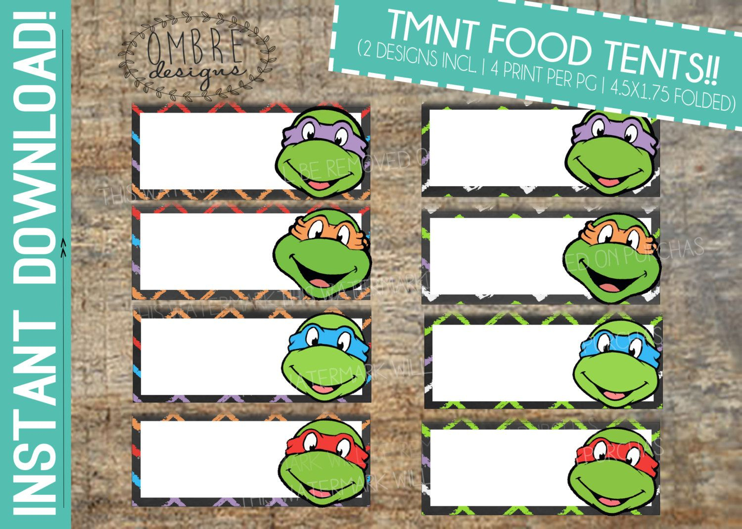 Ninja Turtles Food Tents Tmnt Food Tents Ninjaombredesigns - Free Printable Tmnt Food Labels