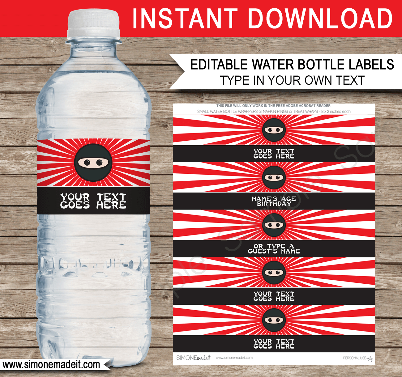 Ninja Water Bottle Labels Template | Ninja Theme Birthday Party - Free Printable Paris Water Bottle Labels