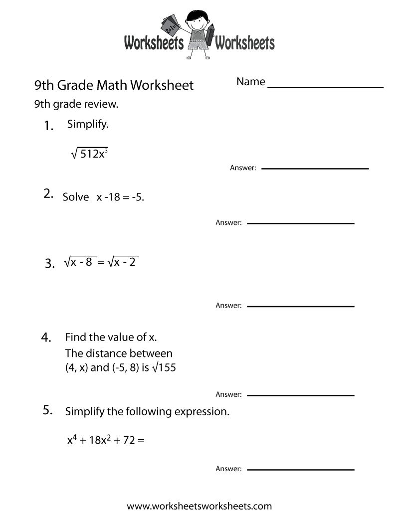 Ninth Grade Math Practice Worksheet Printable | Teaching | Pinterest - 9Th Grade English Worksheets Free Printable