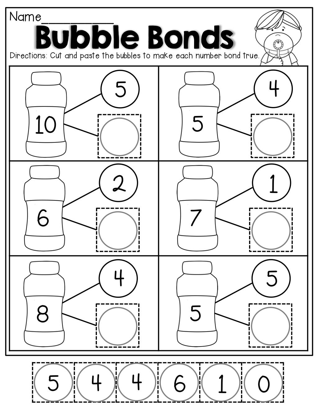 Number Bubble Bonds (Cut And Paste) | Kindergarten Activities - Free Printable Number Bonds Worksheets For Kindergarten