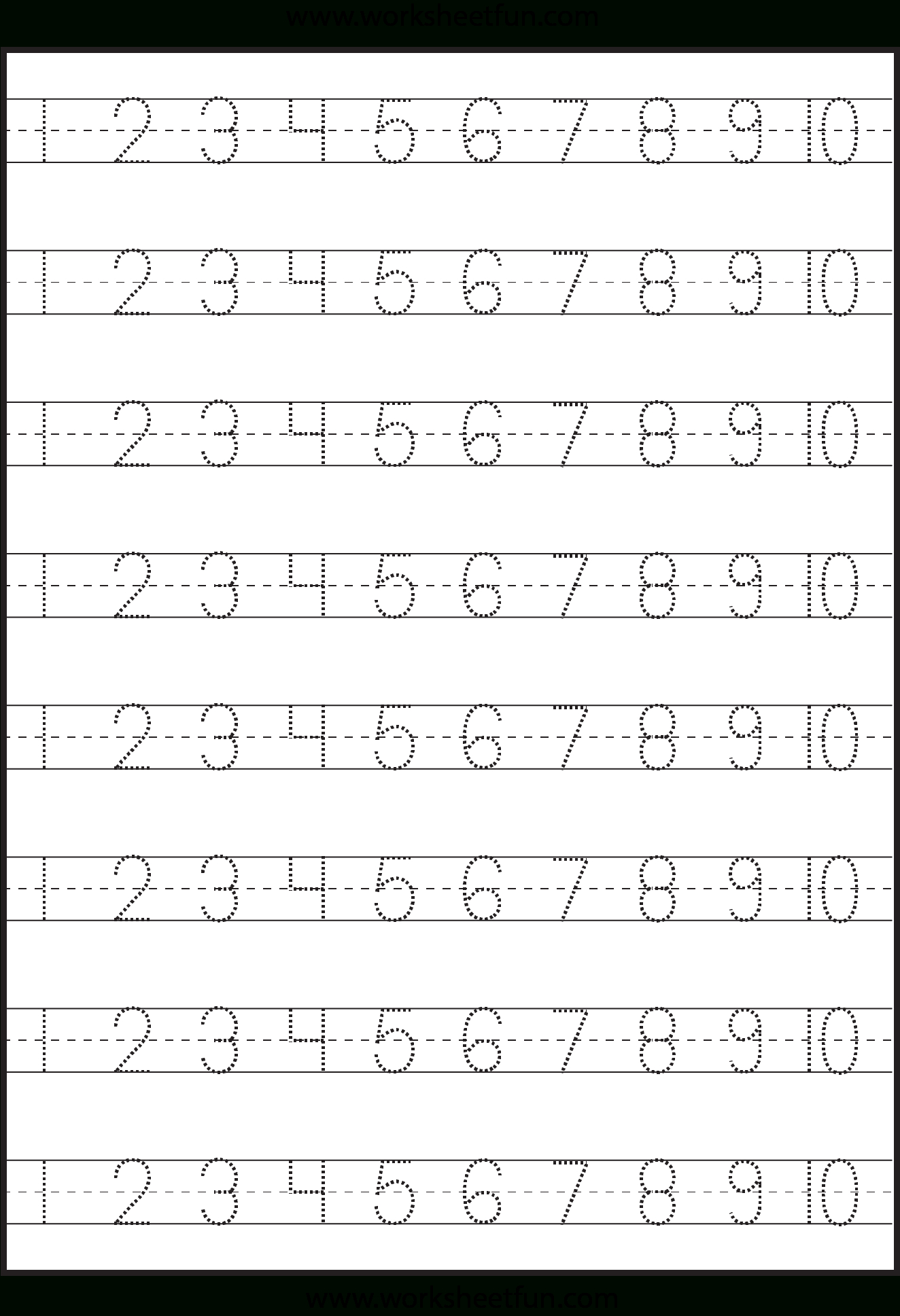 Number Tracing – 1-10 – Worksheet / Free Printable Worksheets - Free Printable Numbers 1 20