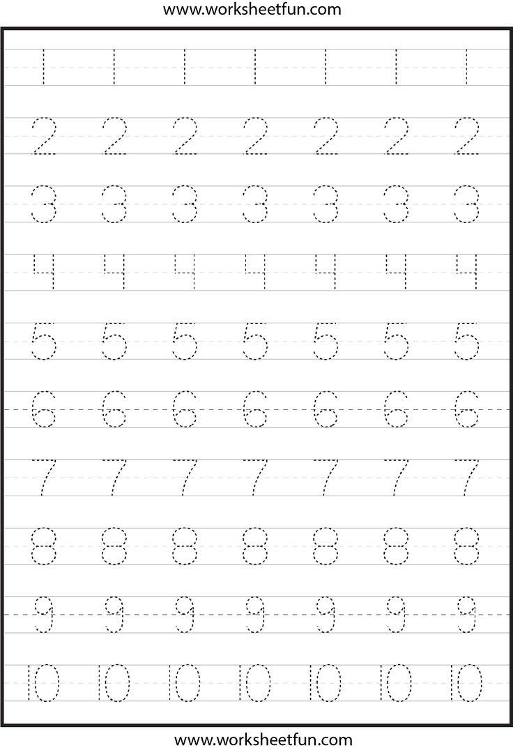 Number Tracing Worksheets For Kindergarten- 1-10 – Ten Worksheets - Free Printable Tracing Numbers 1 20 Worksheets