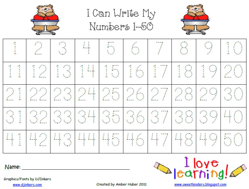 Numbers 1 50 Worksheets For Kindergarten | Download Them And Try To - Free Printable Tracing Numbers 1 50