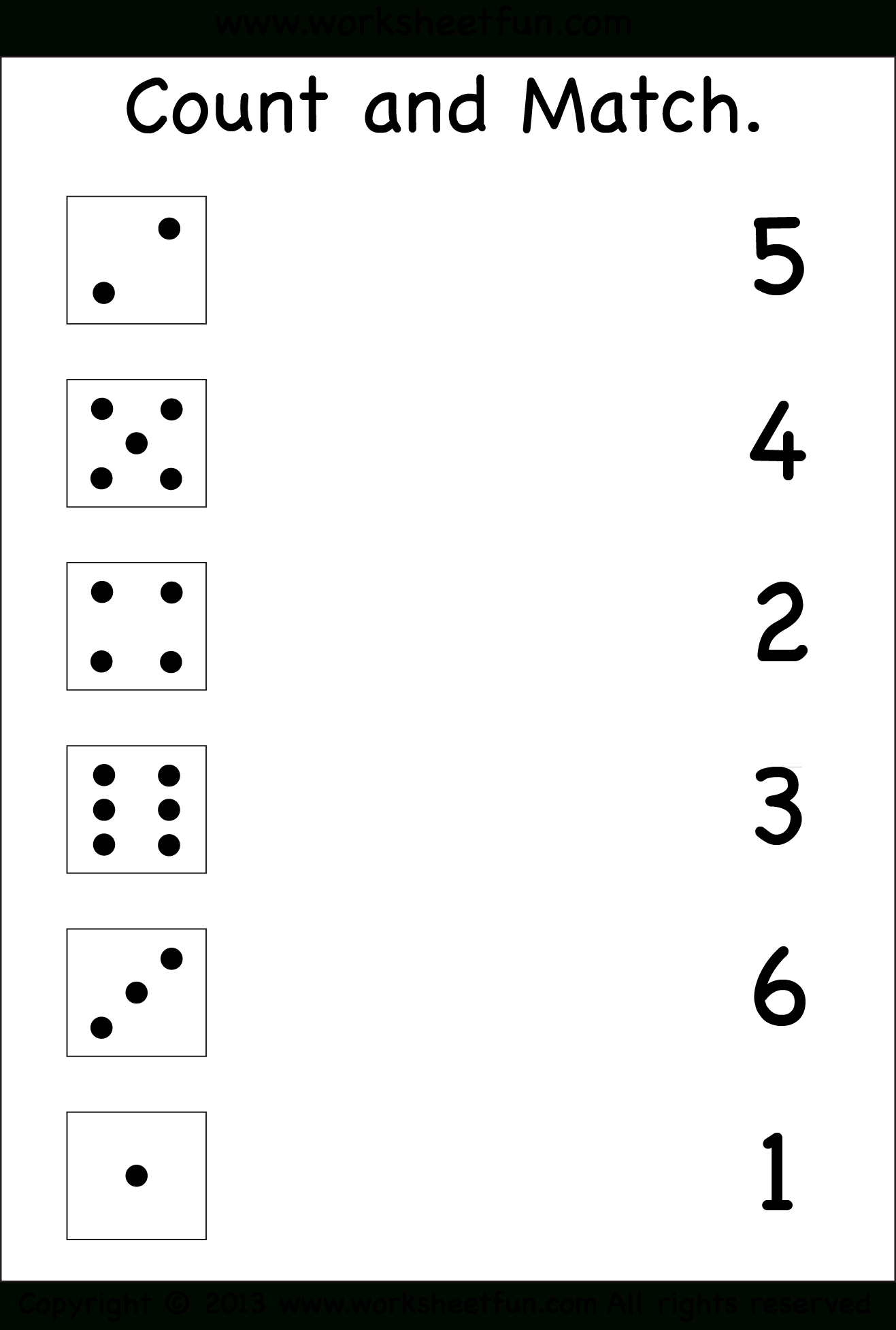 Numbers – Count And Match / Free Printable Worksheets – Worksheetfun - Free Printable Number Worksheets