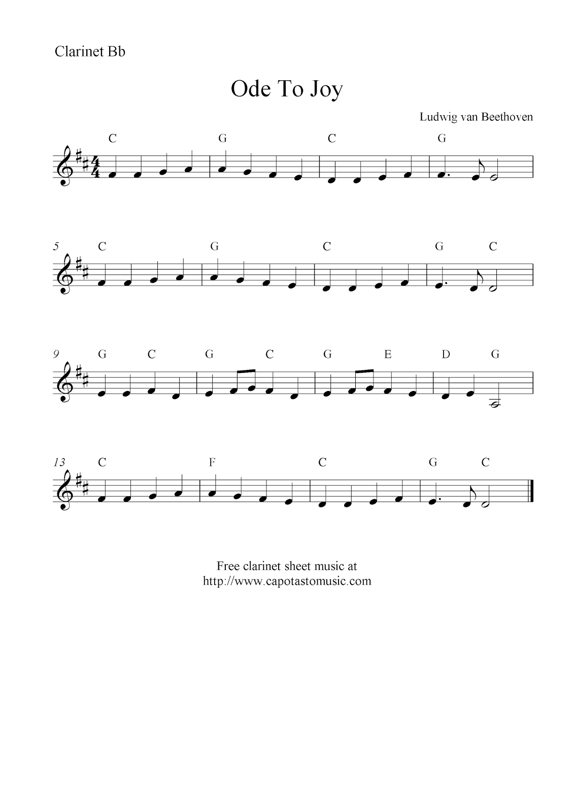 Ode To Joybeethoven, Free Clarinet Sheet Music Notes - Free Printable Clarinet Music