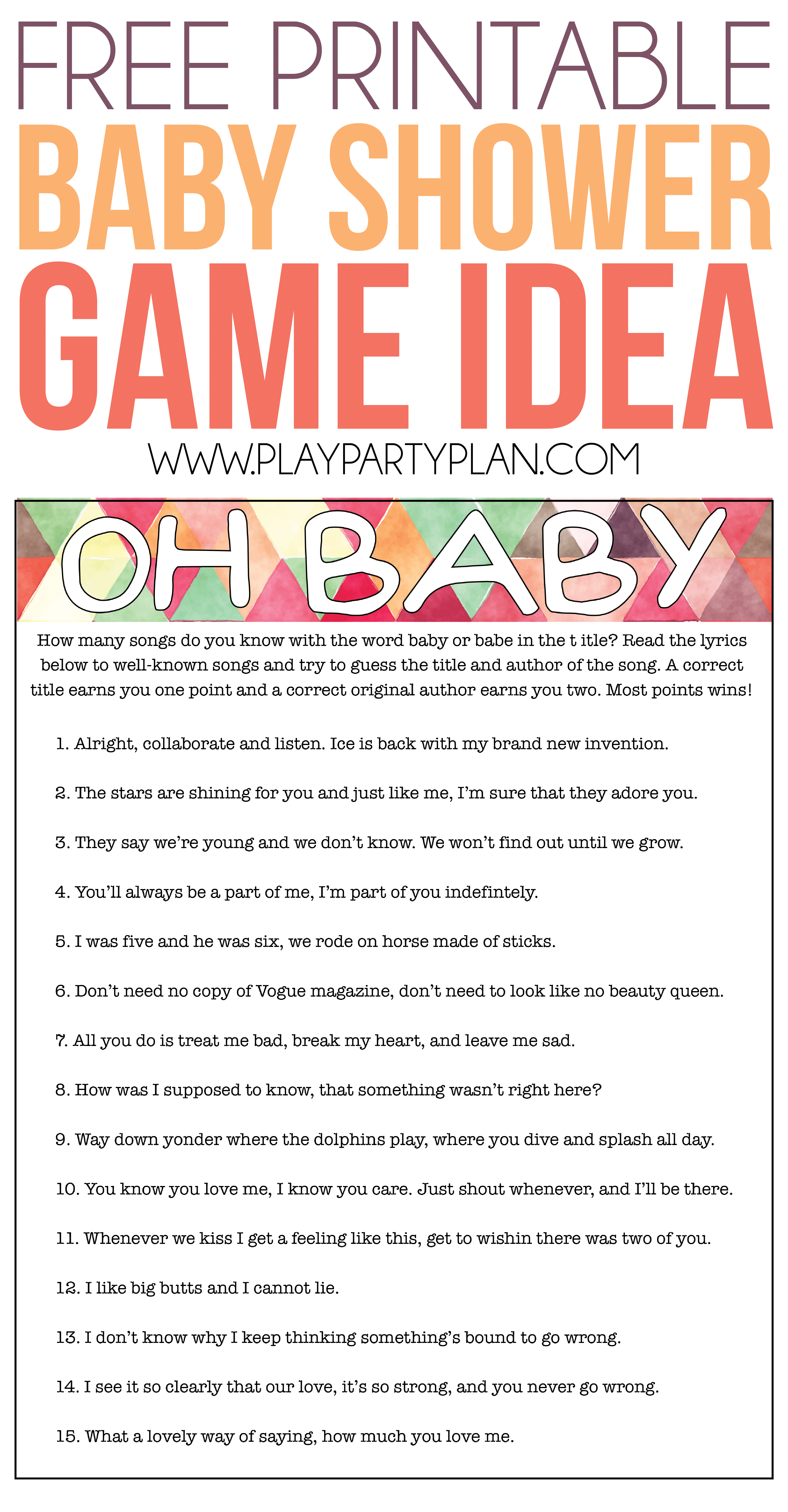 Oh Baby! Free Printable Baby Shower Game Expecting Moms Will Love - Free Printable Baby Shower Games