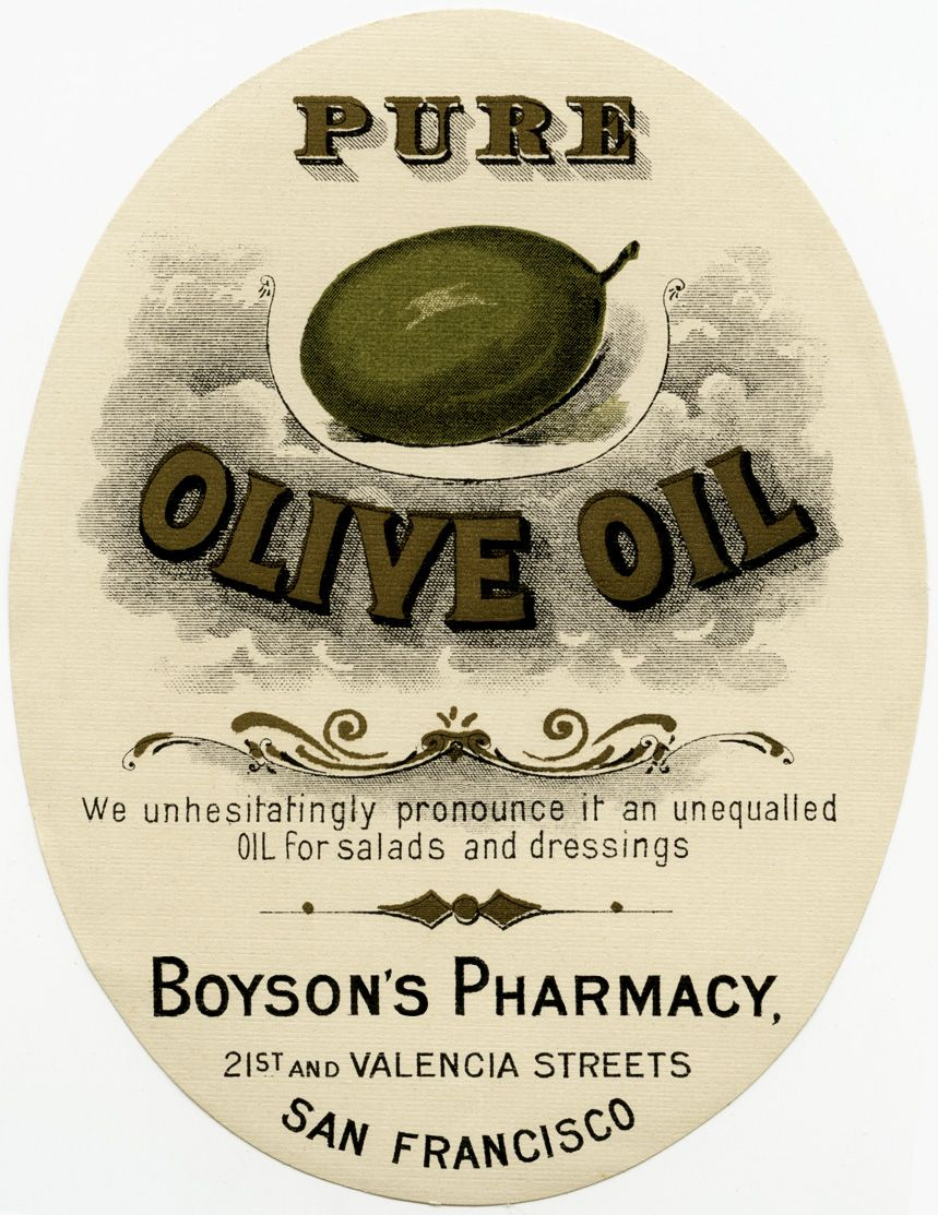 Old Design Shop ~ Free Digital Image: Vintage Boyson's Pharmacy - Free Printable Olive Oil Labels