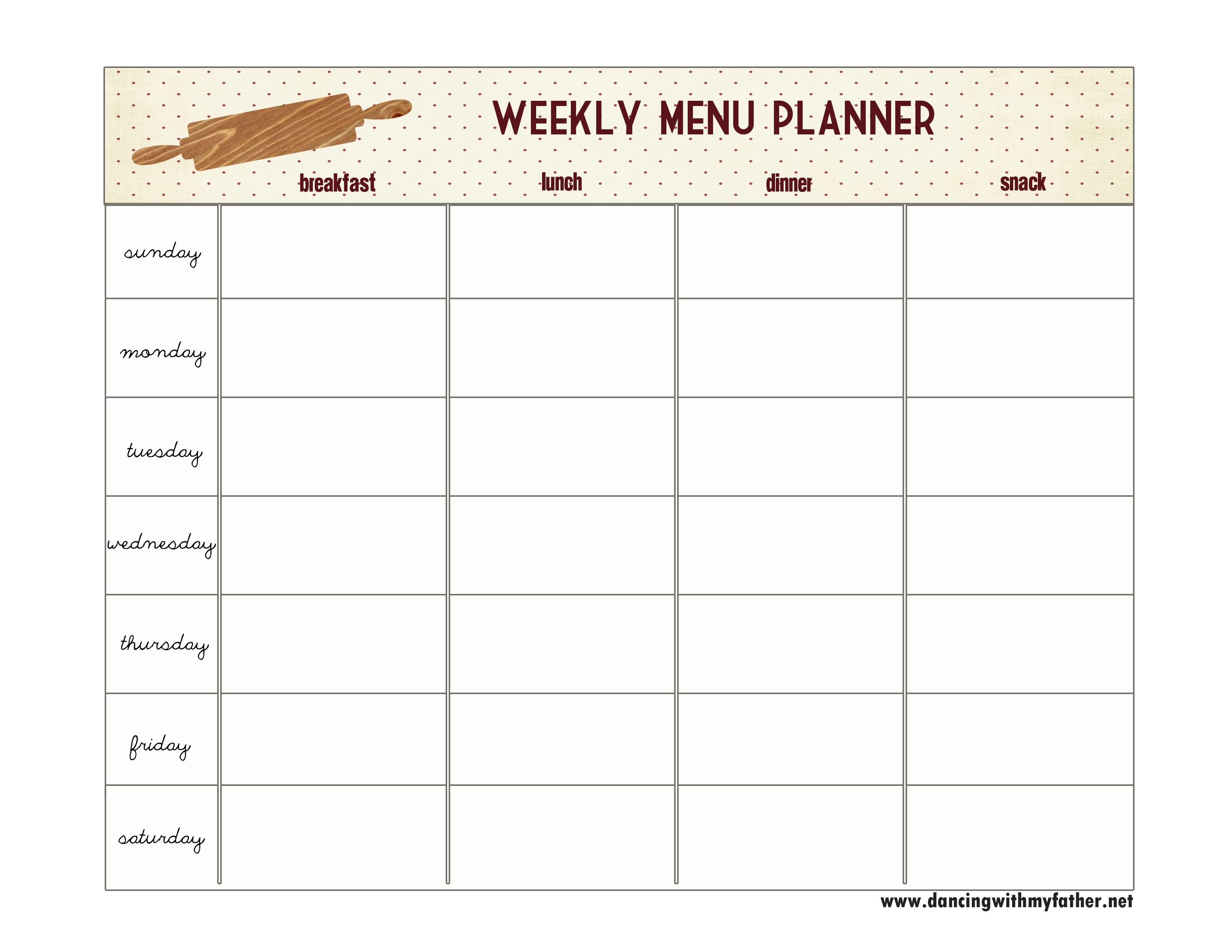 One Step Toward Organized {Free Printable Menu Planner} | Dancing - Free Printable Menu Planner
