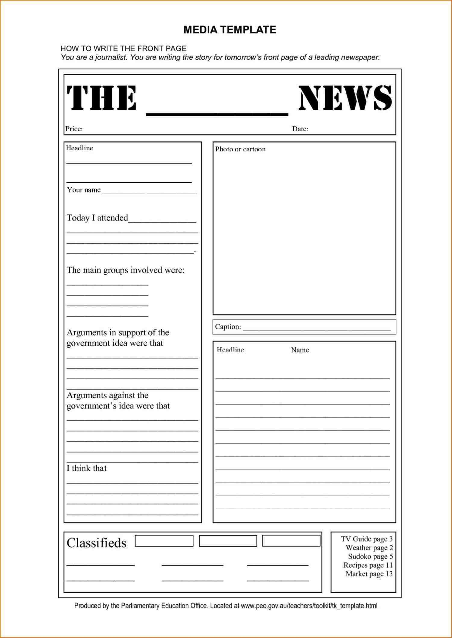 Oracle-Bi-Developer-Design-Blank-Newspaper-Template-For-Word - Free Printable Newspaper Templates For Students