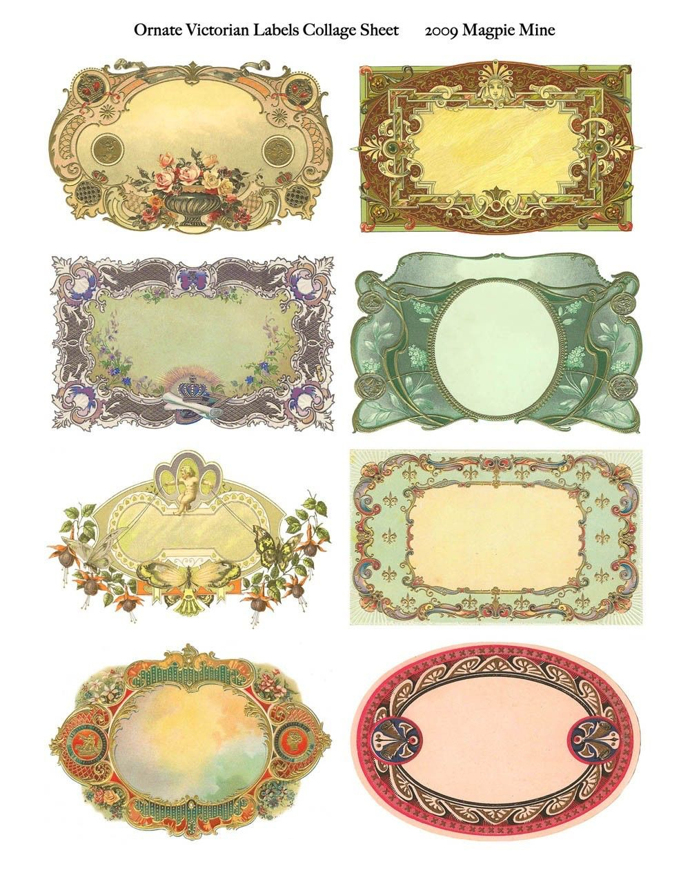 Ornate Victorian Labels Collage Sheet - Instant Download - Fancy - Fancy Labels Printable Free