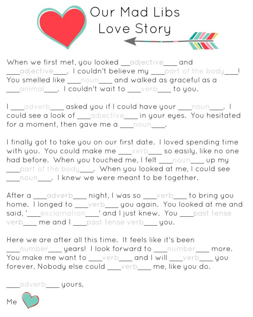 Our Mad Libs Love Story ~ Free Printable (And Laughs!) - Or So She - Free Printable Mad Libs