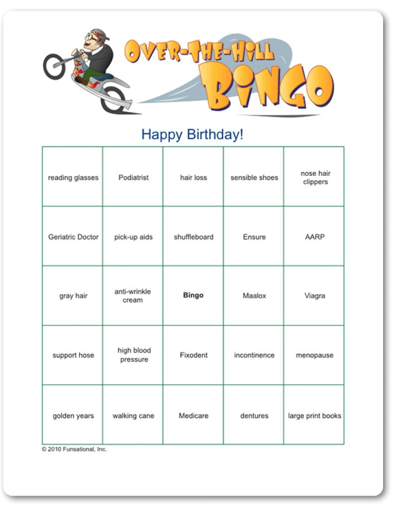 Over The Hill Games Free Printable | Free Printable - Over The Hill Games Free Printable