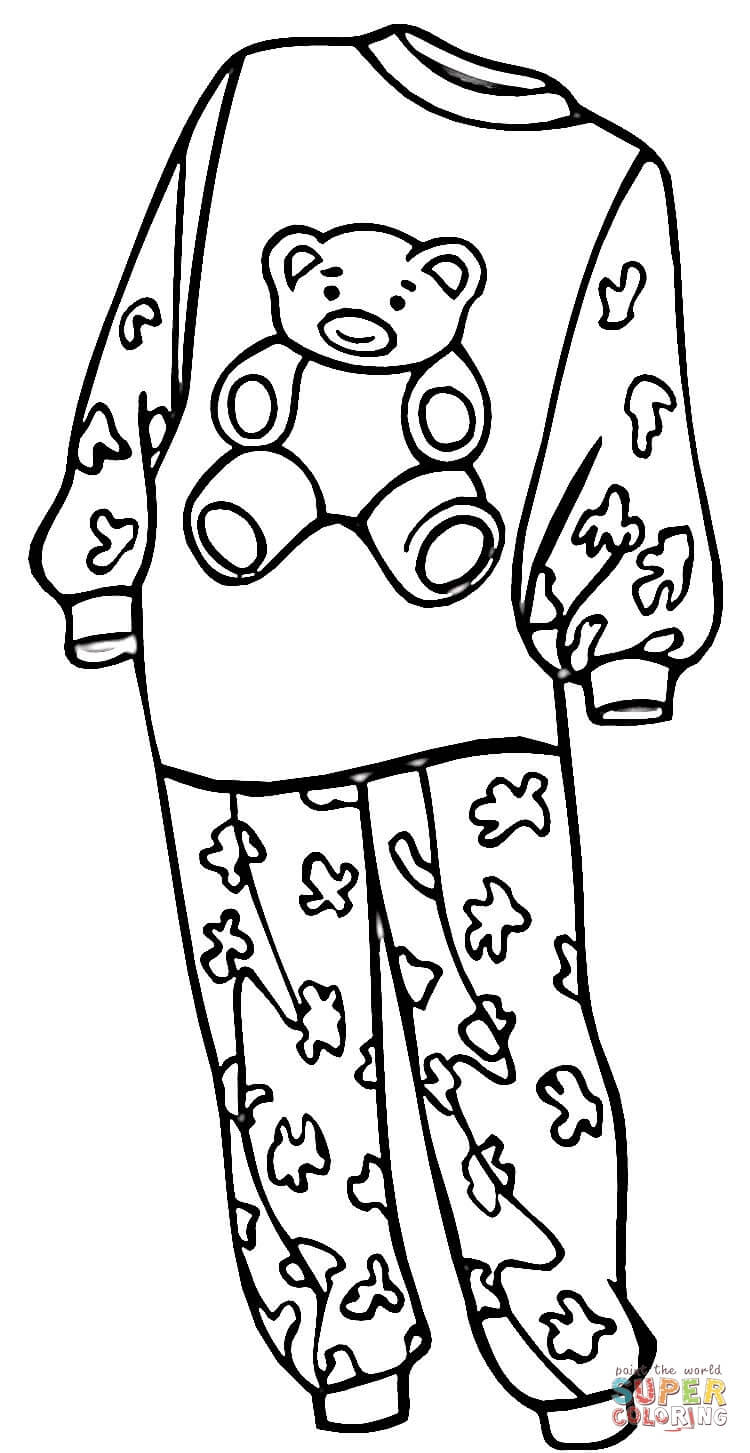 Pajamas For A Girl Coloring Page | Free Printable Coloring Pages - Free Printable Pajama Coloring Pages