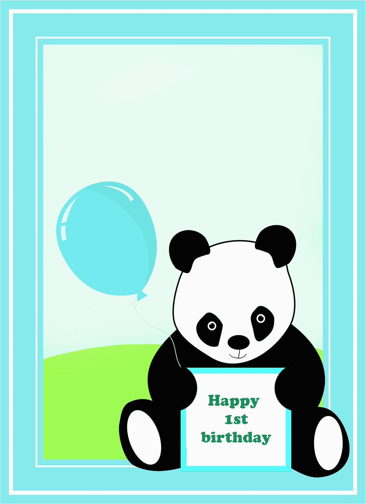 Panda Birthday Card Template | Birthdaybuzz - Panda Bear Invitations Free Printable