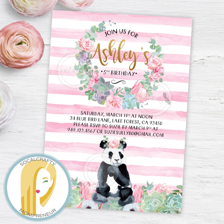 Panda Birthday Party Invitation Panda Bear Invitation Girl | Etsy - Panda Bear Invitations Free Printable