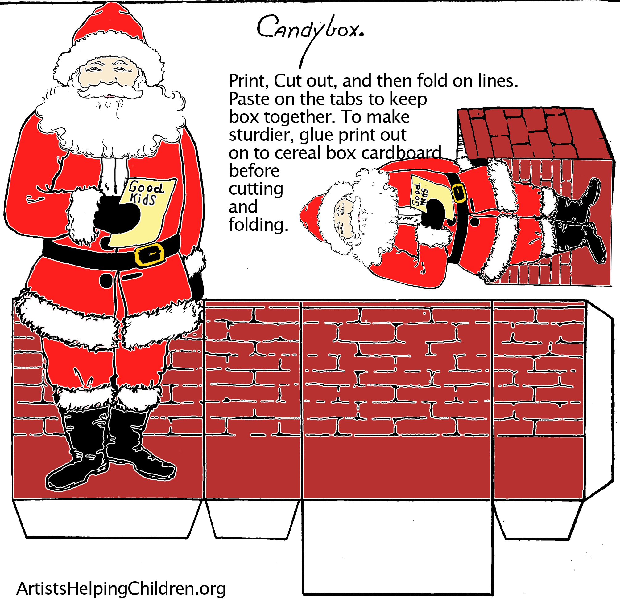 Paper Crafts Templates | Make A Santa Clause Paper Candy Box With - Printable Paper Crafts Free