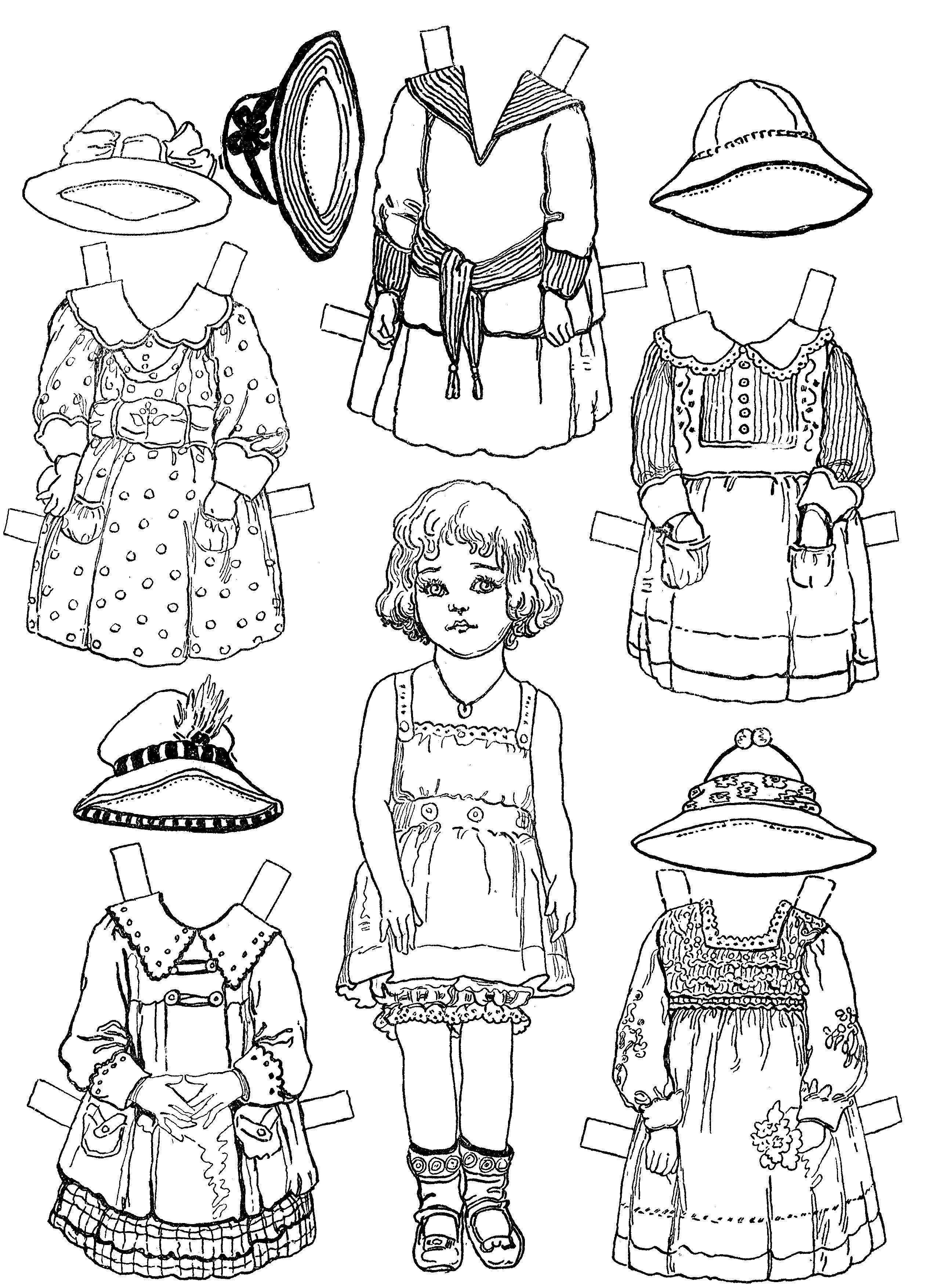 Paper Dolls And Paper Doll Dresses – Printable From Kid Fun | Color - Free Printable Paper Doll Coloring Pages