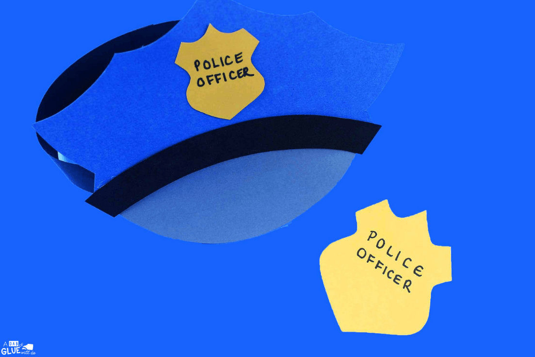 Paper Police Hat Craft - A Dab Of Glue Will Do - Free Printable Police Hat