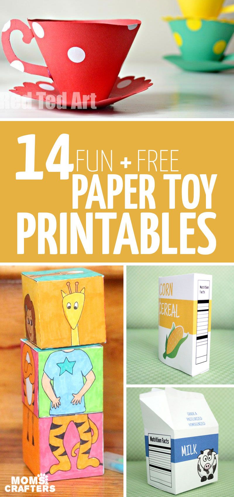 Paper Toy Templates - 14 Free Printables To Craft And Play! | Paper - Free Printable Paper Crafts