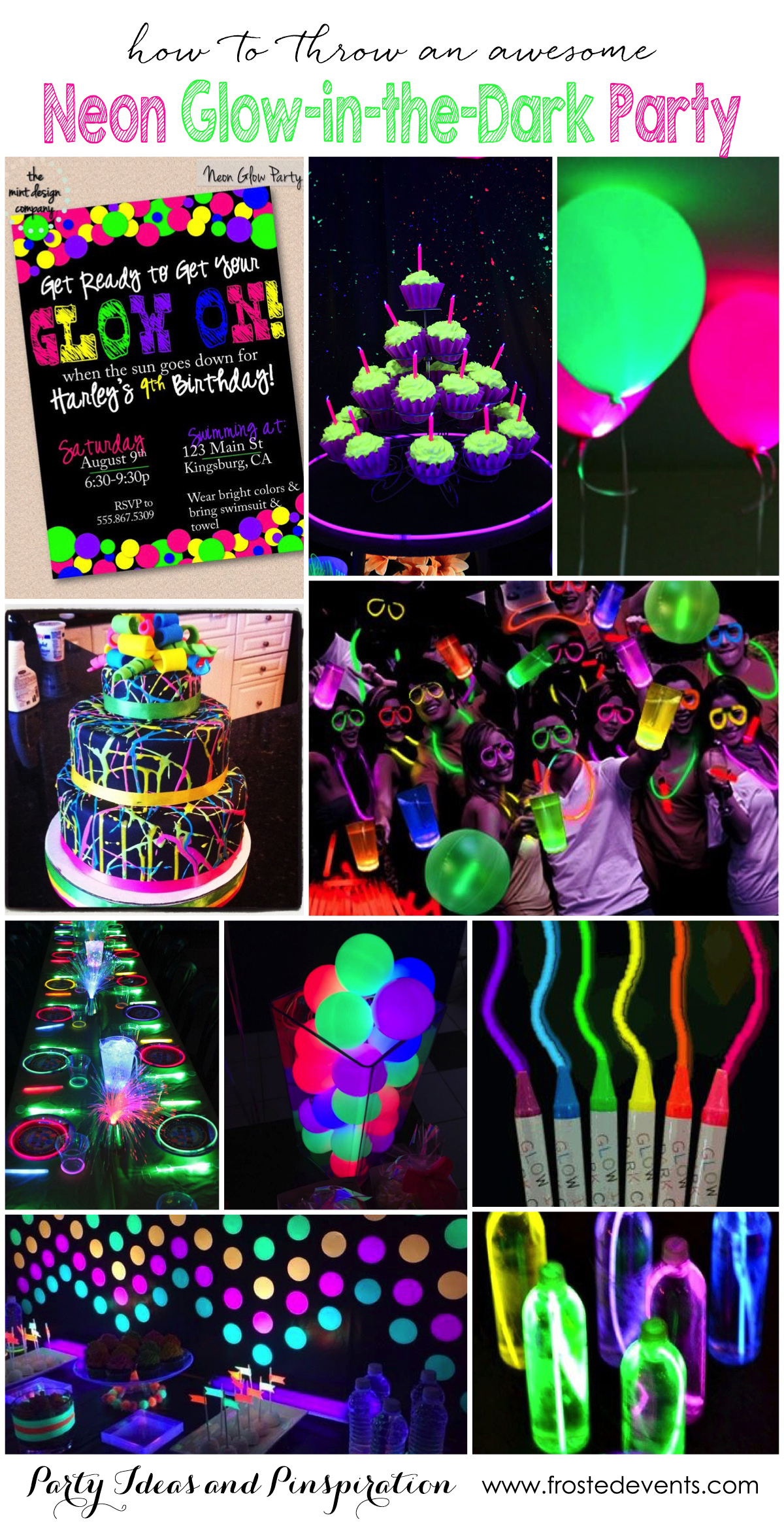 Party Themes- Neon Party- Glow In The Dark Party Ideas - Free Printable Glow In The Dark Birthday Party Invitations