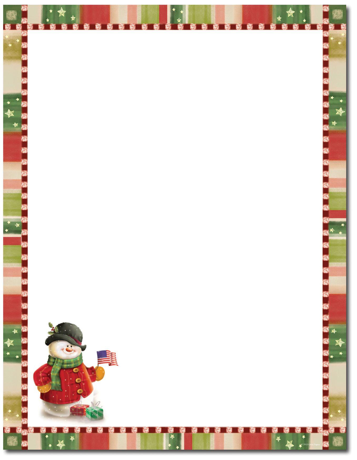 Patriotic Snowman Letterhead | Christmas Stationery | Christmas - Free Printable Christmas Stationary Paper