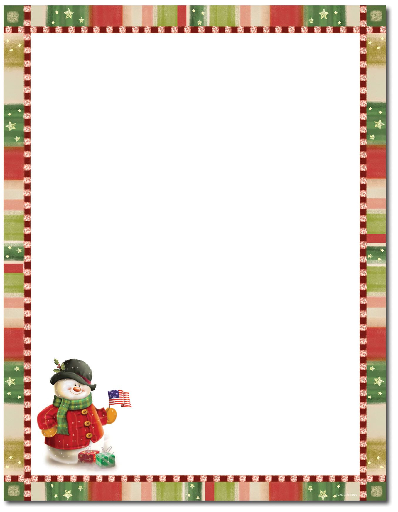 Patriotic Snowman Letterhead   Christmas Stationery   Christmas - Free Printable Snowman Stationery
