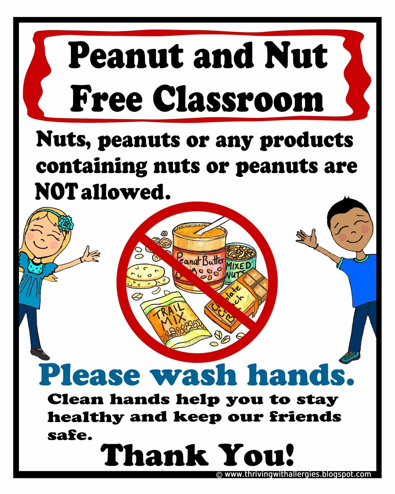 Peanut And Nut Free Classroom Poster. Free Printable Poster   Food - Printable Peanut Free Classroom Signs