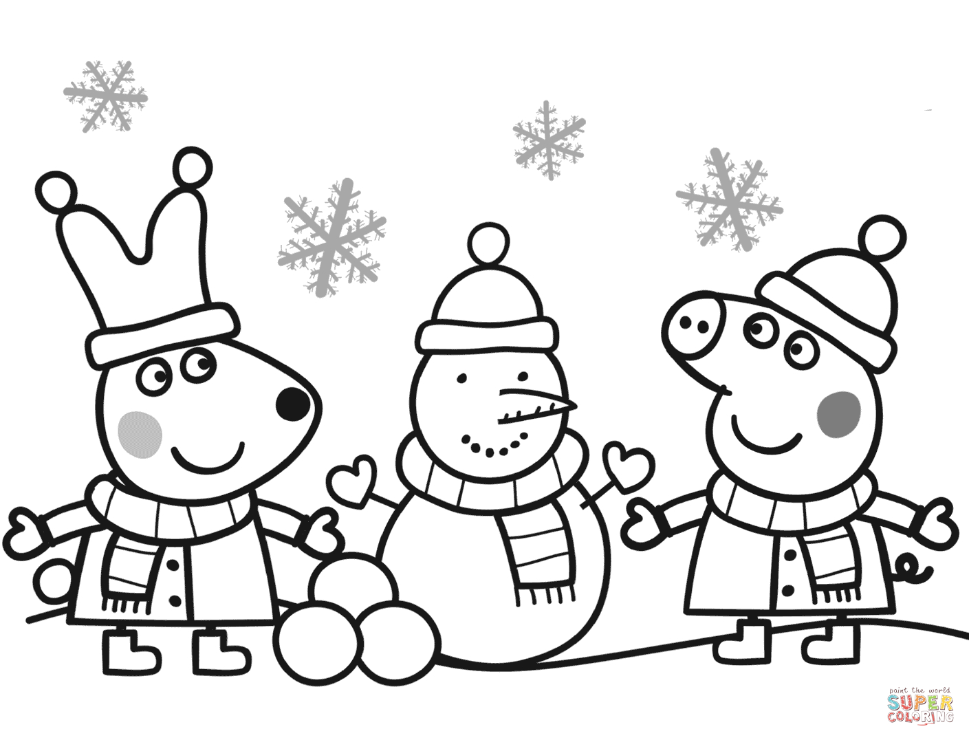 Peppa And Rebecca Are Making Snowman Coloring Page | Free Printable - Pig Coloring Sheets Free Printable