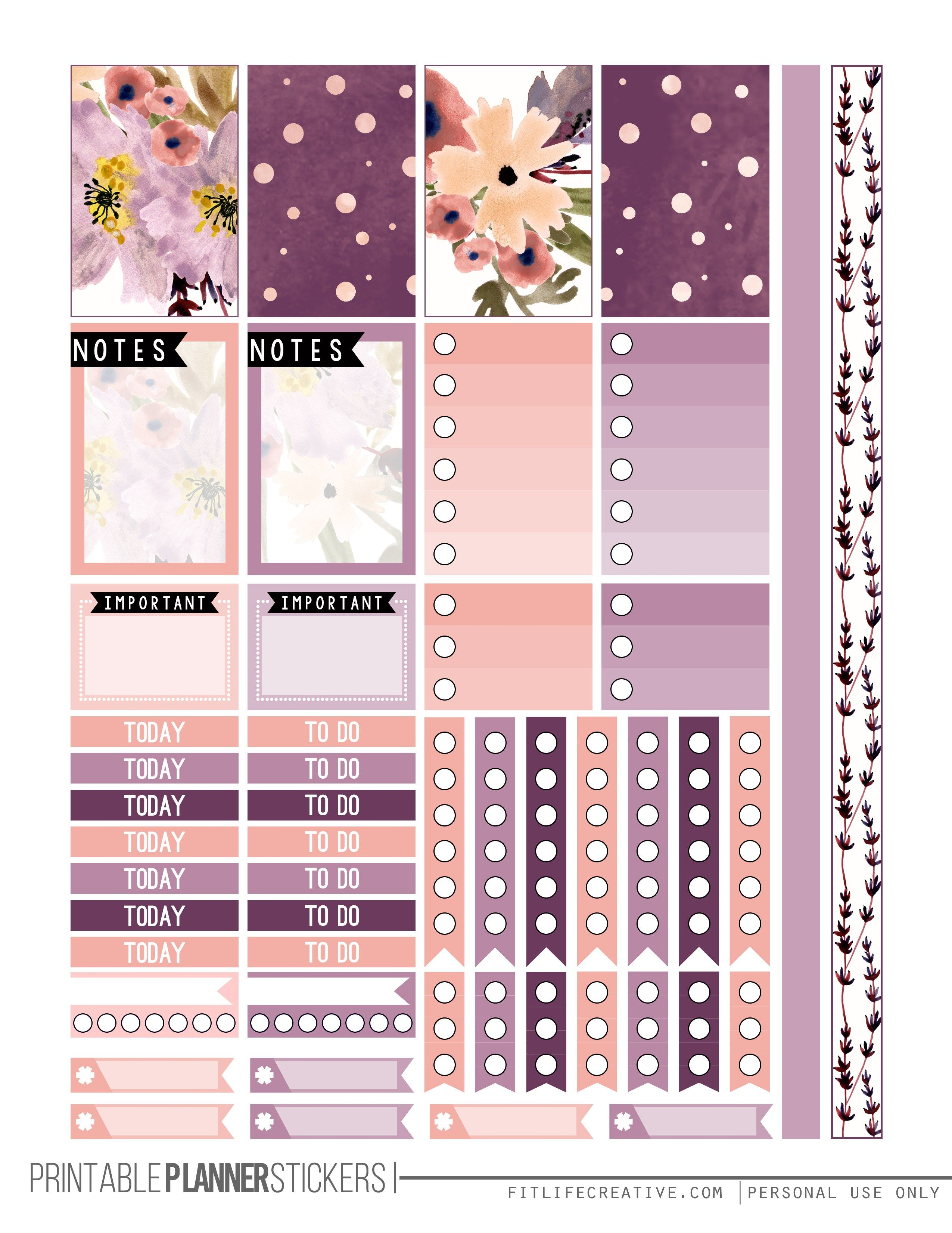 Perfectly Purple Planner Stickers | Free Planner Stickers - Free Printable Happy Planner Stickers