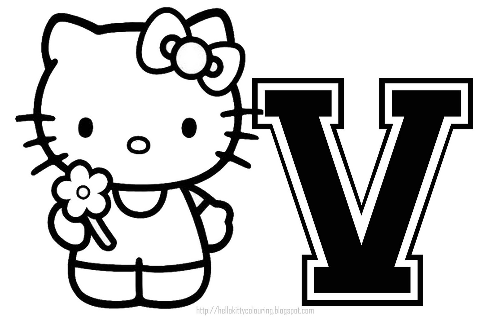 Personalized Coloring Page Initial Letter Hello Kitty - Free Printable Hello Kitty Alphabet Letters