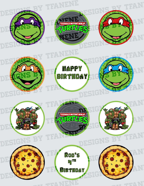 Personalized Teenage Mutant Ninja Turtles/tmnt Printable Cupcake - Free Printable Teenage Mutant Ninja Turtle Cupcake Toppers