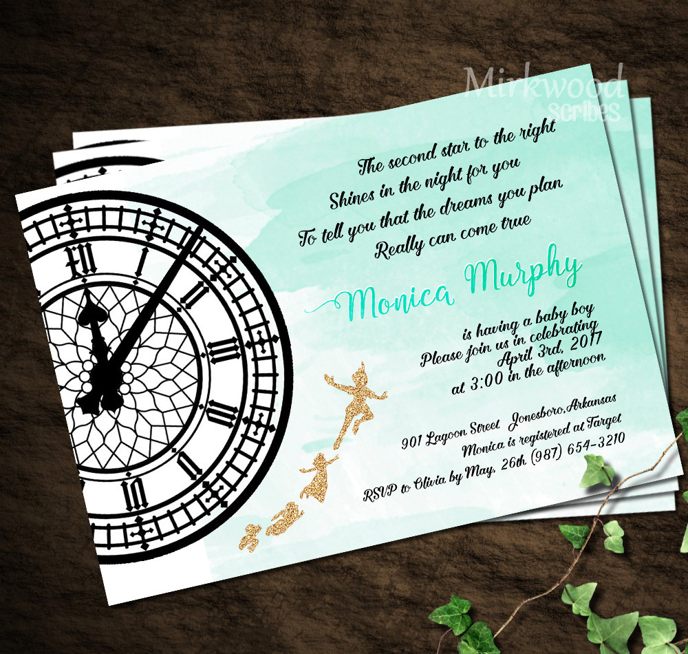 Peter Pan Baby Shower Invitation Neverland Baby Shower | Etsy - Free Printable Tinkerbell Baby Shower Invitations