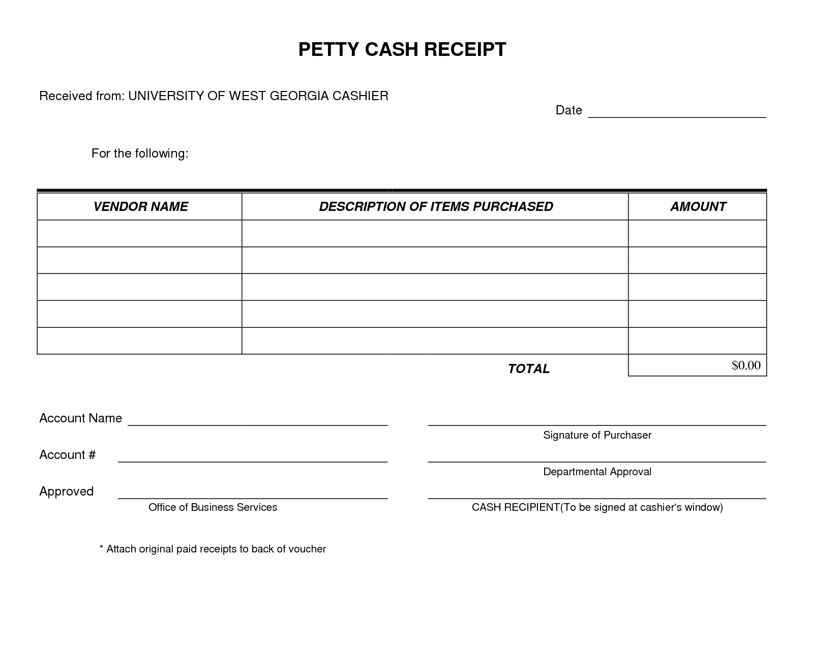 Petty Cash Receipt Form Template Very Simple And Easy To Print. I - Free Printable Petty Cash Voucher