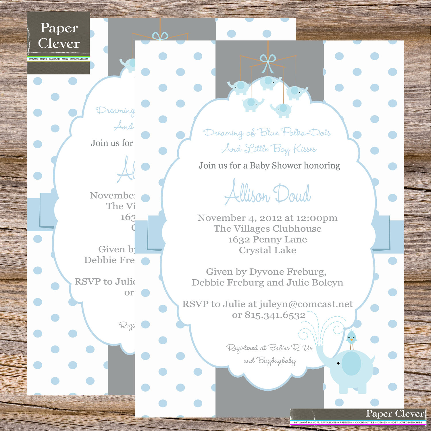 Photo : Elephant Themed Baby Shower Invitation Image - Free Printable Elephant Baby Shower