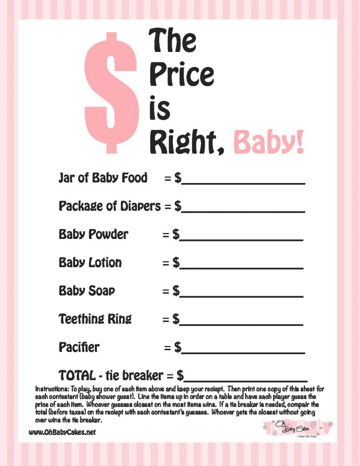 Free Printable Templates For Baby Shower Games