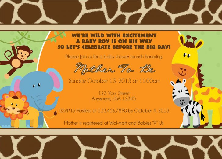 Free Printable Jungle Safari Baby Shower Invitations