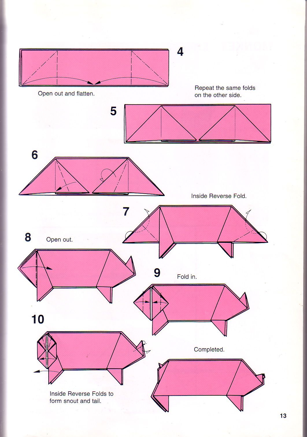 Pig Origami Instructions   Origami Printable Instructions - Free Easy Origami Instructions Printable