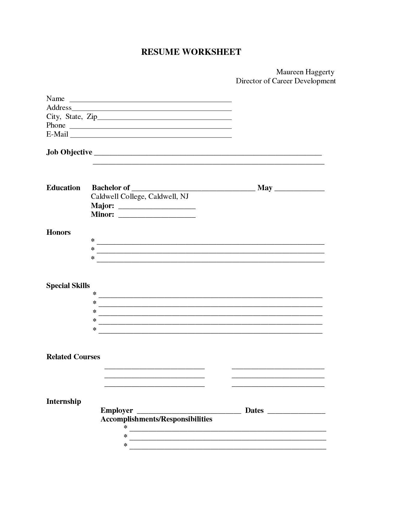 Pin Oleh Jobresume Di Resume Career Termplate Free | Resume Form - Free Printable Blank Resume
