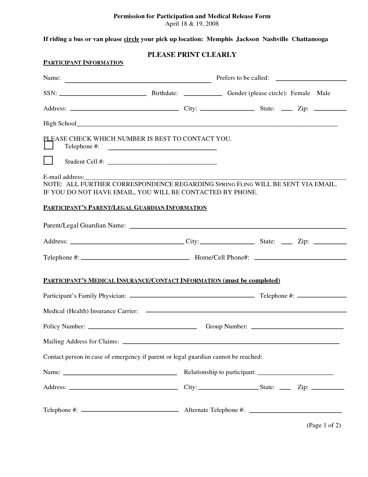 Pin On Pain No Gain - Free Printable Medical Release Form