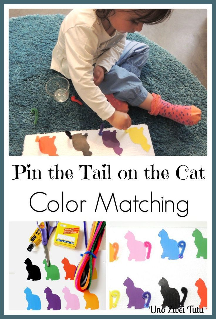 Pin The Tail On The Cat: Diy Color Matching Toy With Free Printable - Free Printable Pin The Tail On The Cat