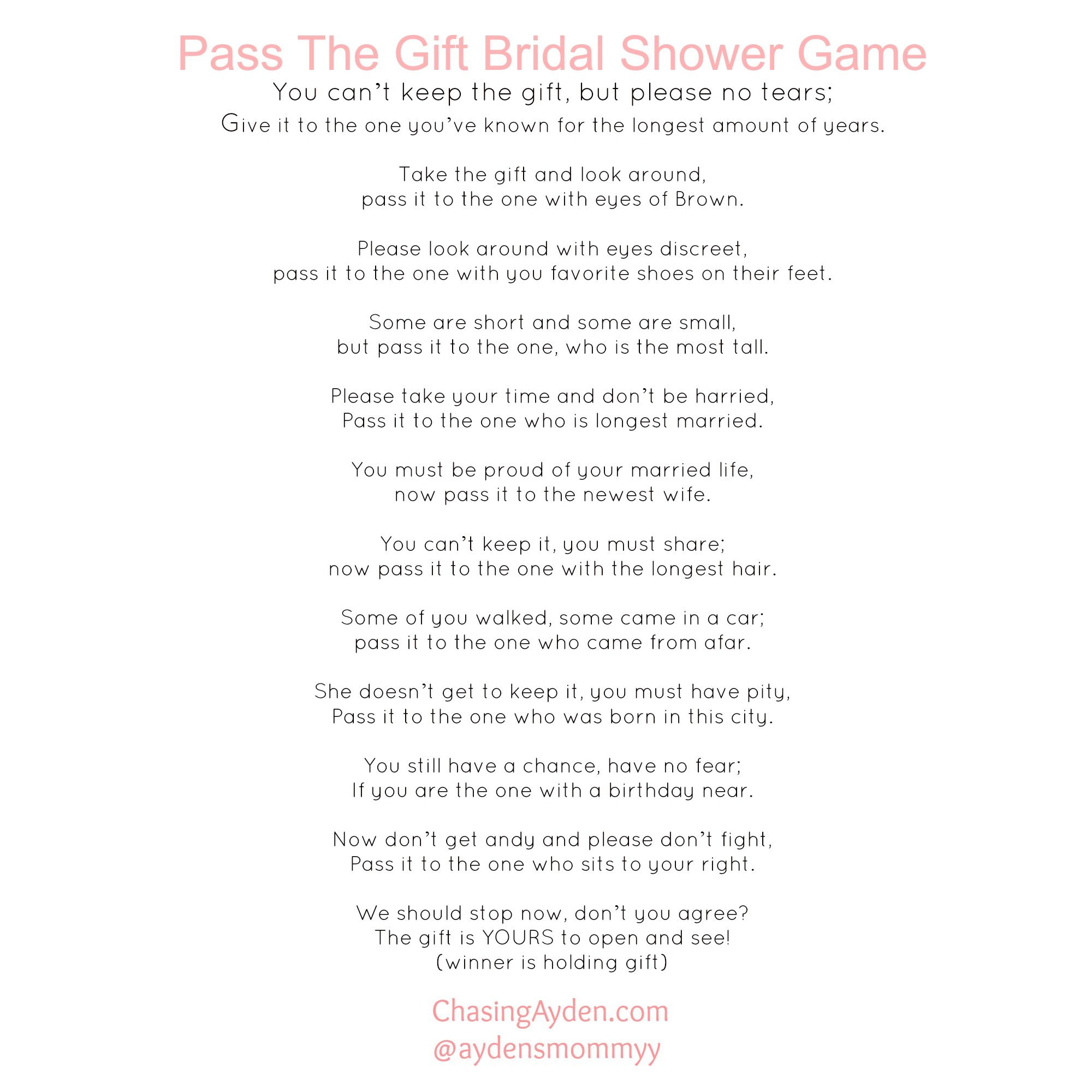 Pinchasing Mcallisters On My Events | Bridal Shower Games - Pass The Prize Baby Shower Game Free Printable