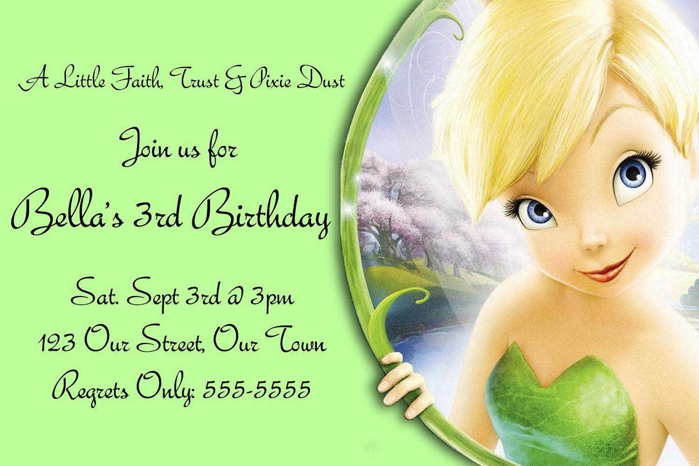 Pindrevio Invitation On Free Printable Birthday Invitation In - Free Tinkerbell Printable Birthday Invitations