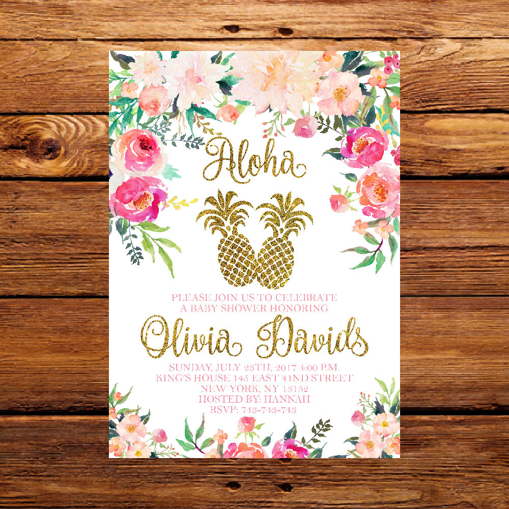 Pineapple Baby Shower Invitation Tropical Aloha Baby Shower | Etsy - Free Printable Luau Baby Shower Invitations