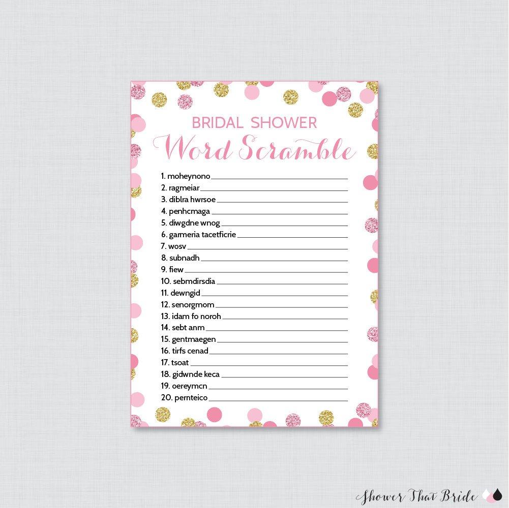 Pink And Gold Bridal Shower Word Scramble Printable Pink And | Etsy - Free Printable Bridal Shower Games Word Scramble