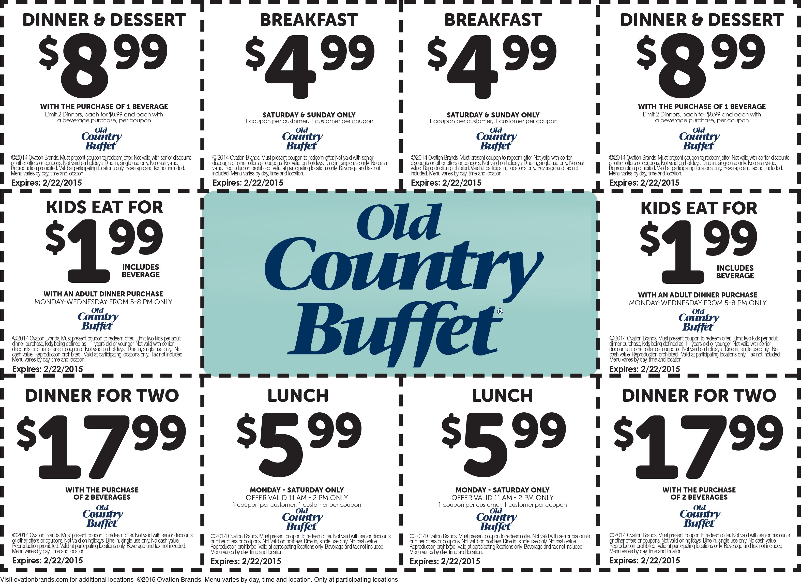 Pinned December 31St: $2 Kids, $5 Breakfast, $6 Lunch & More At Old - Old Country Buffet Printable Coupons Buy One Get One Free