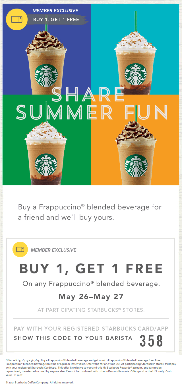 Pinned May 26Th: Second Frappuccino Free With Your Card At - Free Starbucks Coupon Printable