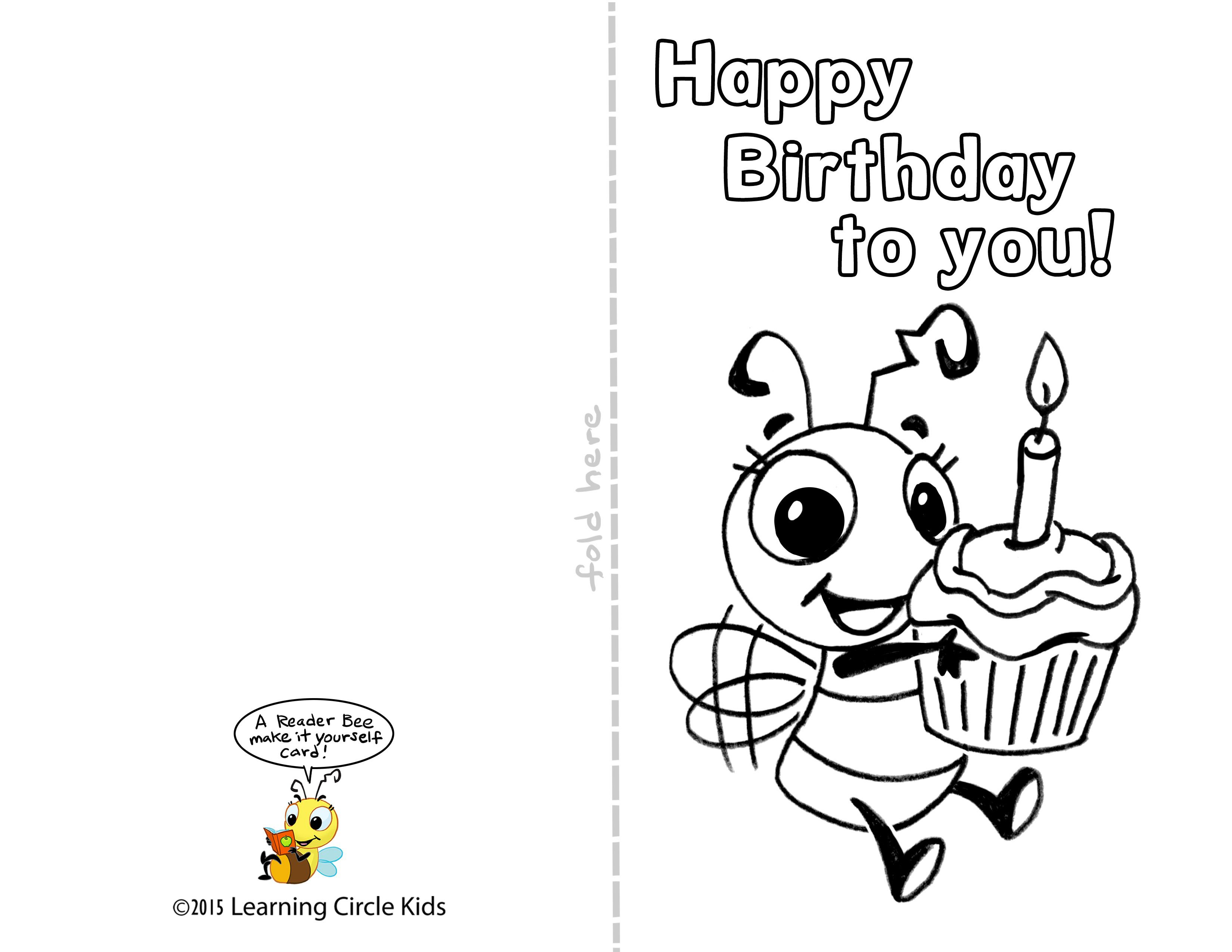 Pinreader Bee On Birthday Celebration - Bee Style | Pinterest - Free Printable Birthday Cards To Color